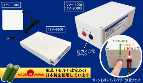 LEDパネル ラクライト用リチウムイオンバッテリー(12V専用)