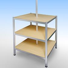 A2サイズのLEDパネルを4方向に取り付けた特注の展示販売コーナーです。