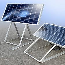 太陽光パネルを屋外に設置するためのスタンドです。日射角度が季節によって変わるので角度を2〜3段階に変更できるように設計されています。