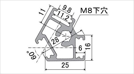 ポールフレーム アングル60 断面図