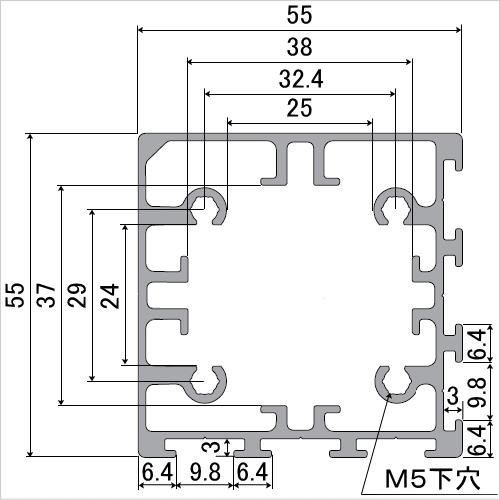 グリップフレーム 四角55 断面図