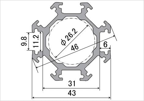 ポールフレーム 八角43―2 断面図