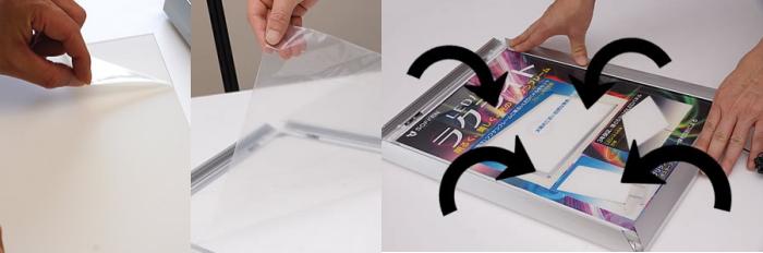 ③ 透明板保護フィルム(両面)とLEDパネル保護フィルムを剥がします。作品の上に透明板をのせて、フレーム枠の四辺を閉じます。