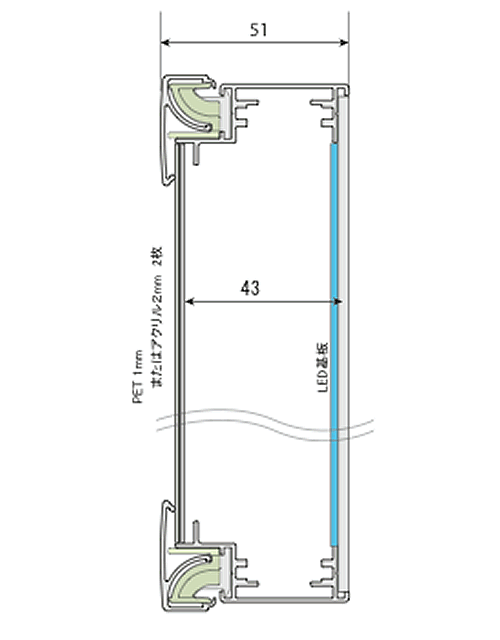 LEDラクライトボックス 前フレームが外れないポスターフレーム一体型タイプの構造略図です。