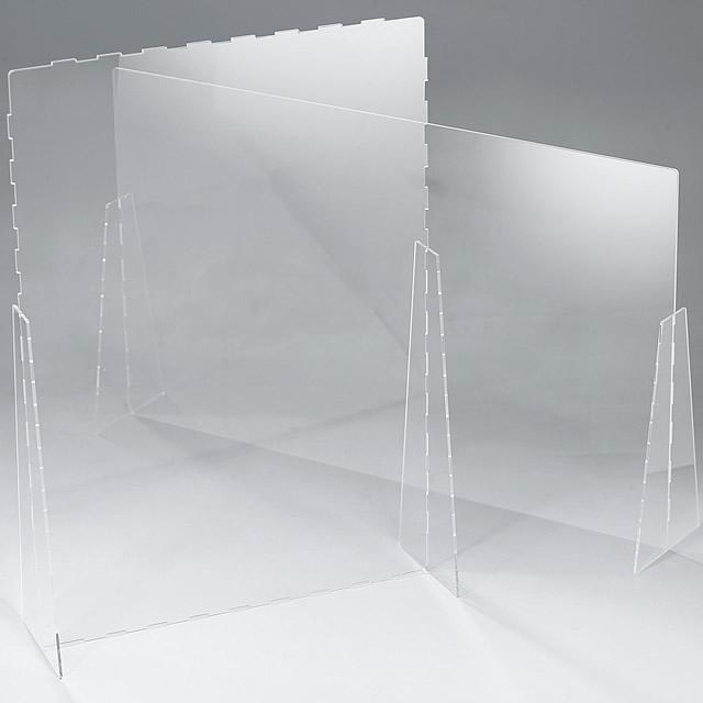 透明なアクリル板を組み合わせた飛沫感染防止スタンド、簡易タイプ
