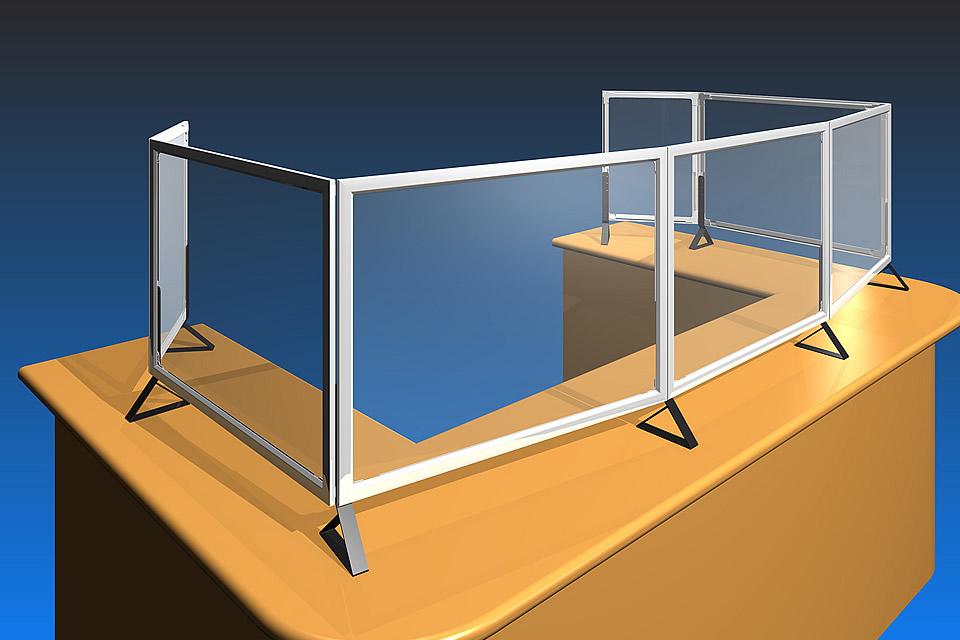 ペット透明板を使ったカウンター用パーテーション、提案イメージCG(パネランドの応用製品)(1)
