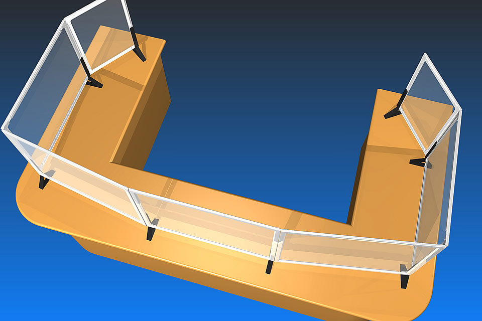 ペット透明板を使ったカウンター用パーテーション、提案イメージCG(パネランドの応用製品)(2)