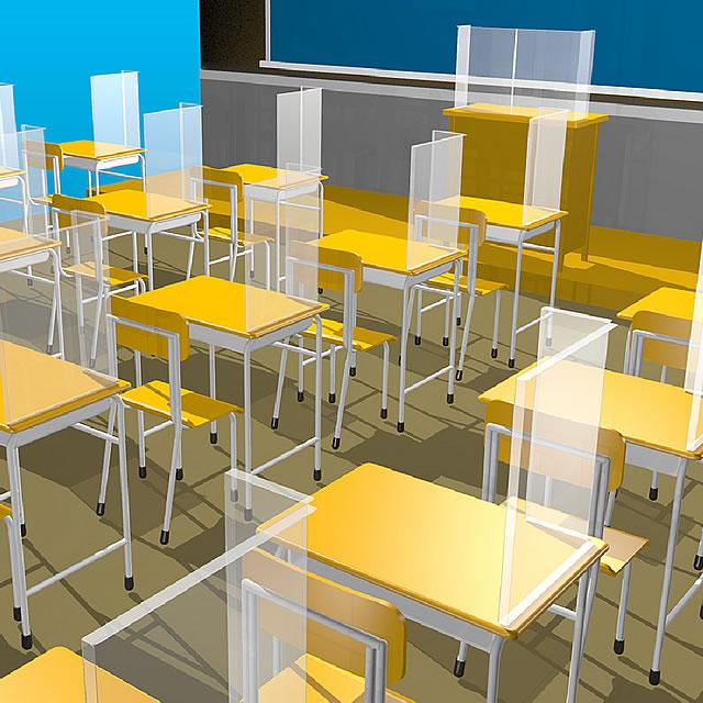 飛沫防止シート 簡易仕切りタイプ 教室での使用イメージ(1)
