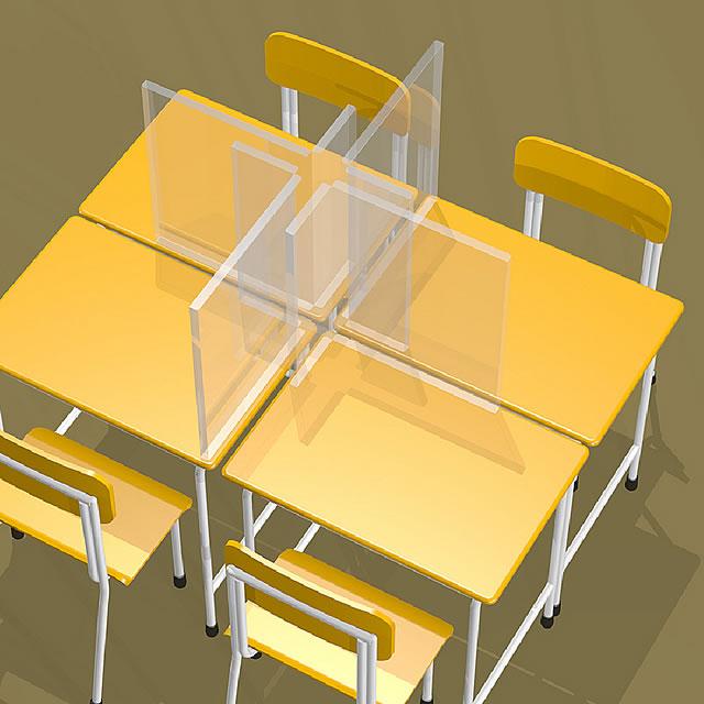 飛沫防止シート 簡易仕切りタイプ 教室での使用イメージ(2)