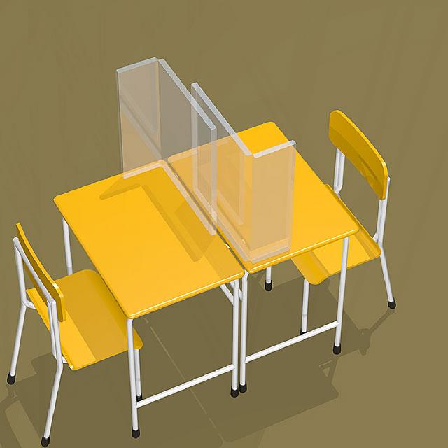 飛沫防止シート 簡易仕切りタイプ 教室での使用イメージ(3)