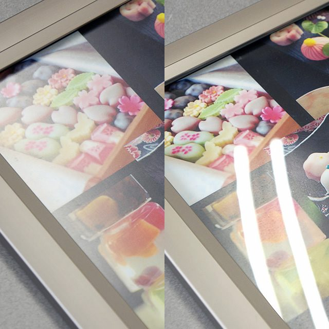 透明板の比較、標準タイプと低反射タイプ(1)