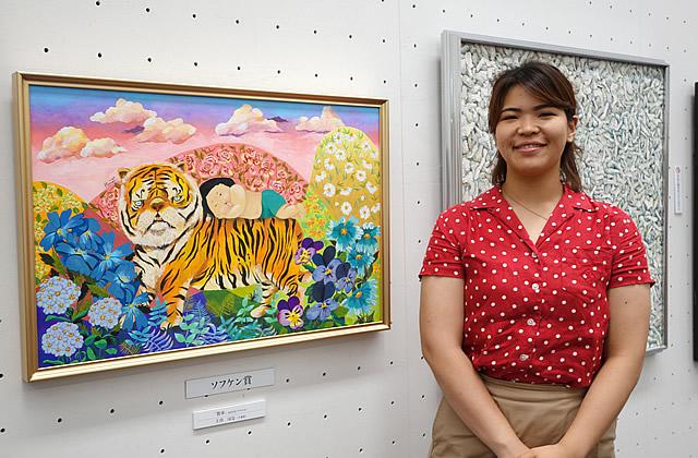 第16回 世界絵画大賞展 2020 ソフケン賞「散歩」 M25号(アクリル)、土川 はなさん